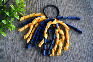 Navy Blue and Yellow Gold Korker Ribbon Ponytail - Dream Lily Designs