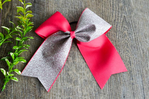 Hot Pink and Silver Sparkle Cheer Bow - Dream Lily Designs