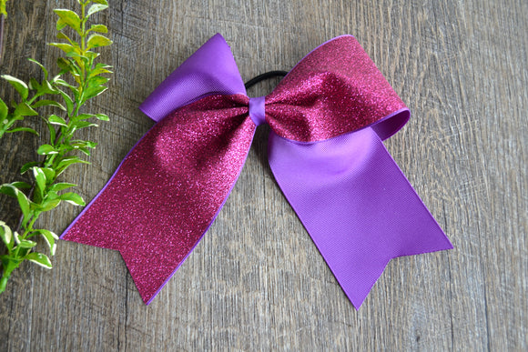 Purple and Fuschia Hot Pink Sparkle Cheer Bow - Dream Lily Designs