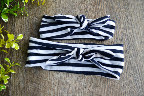 Navy White Stripe Mommy and Me Knot Headband - Dream Lily Designs