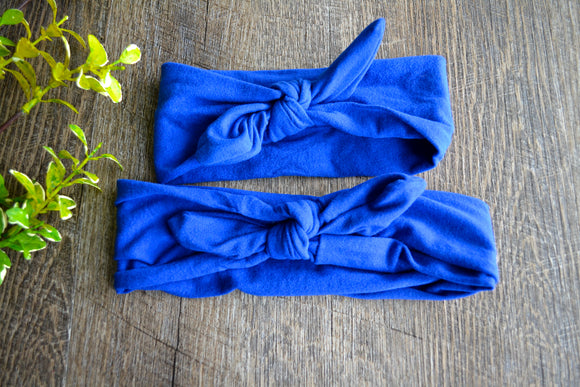 Royal Blue Mommy and Me Knot Headband - Dream Lily Designs