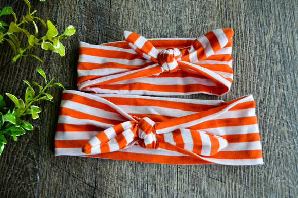 Orange White Stripe Mommy and Me Knot Headband - Dream Lily Designs