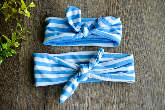 Bright Blue White Stripe Mommy and Me Knot Headband - Dream Lily Designs