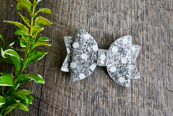 Silver Polka Dot Glitter Leather Bow - Dream Lily Designs