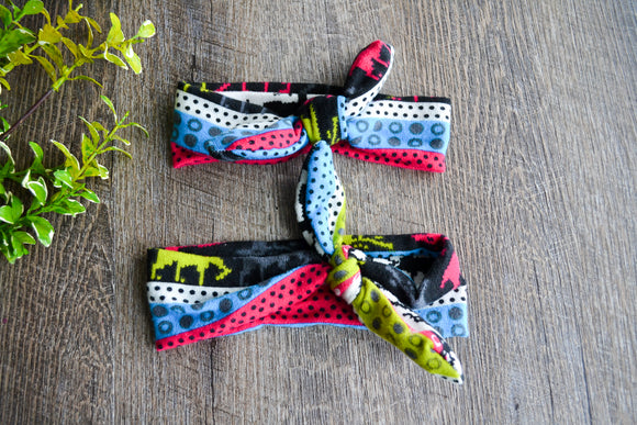 Black Hot Pink Blue Green Dot Pattern Mommy and Me Knot Headband - Dream Lily Designs