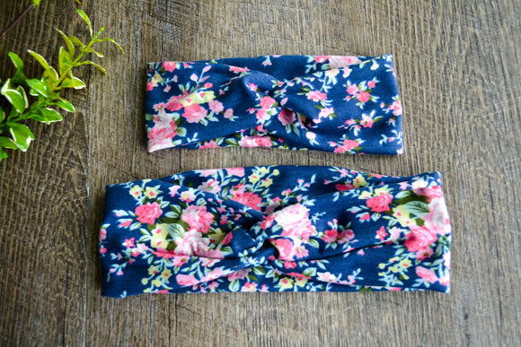 Blue with Pink Floral Turbin Tie Mommy and Me Knot Headband - Dream Lily Designs