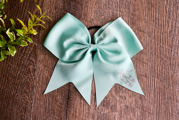 Aqua Mint Cheer Bow with Logo - Dance Ballerina Slippers - Dream Lily Designs