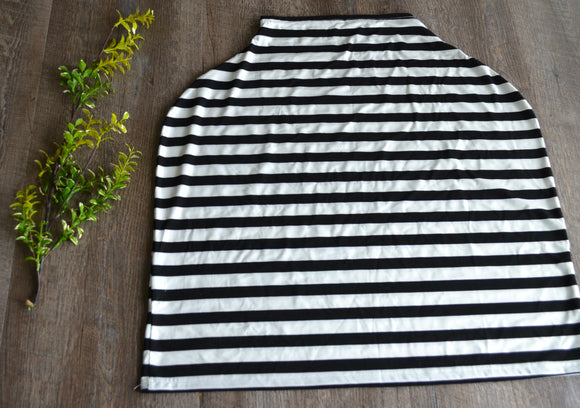 Nursing Cover and Carrier Cover - Stretch Fabric - Black White Stripe Wide - Dream Lily Designs