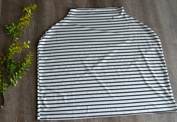 Nursing Cover and Carrier Cover - Stretch Fabric - Black White StripeThin - Dream Lily Designs