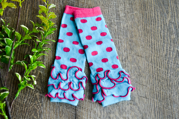 Bright Blue and Hot Pink Polka Dot Ankle Ruffle Leg Warmers - Dream Lily Designs