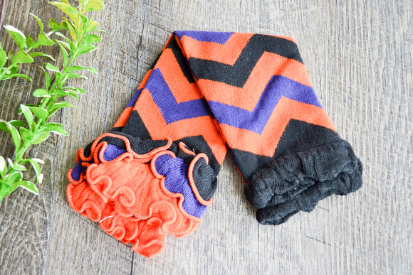 Orange Purple Black Halloween Ankle Ruffles Leg Warmers - Dream Lily Designs