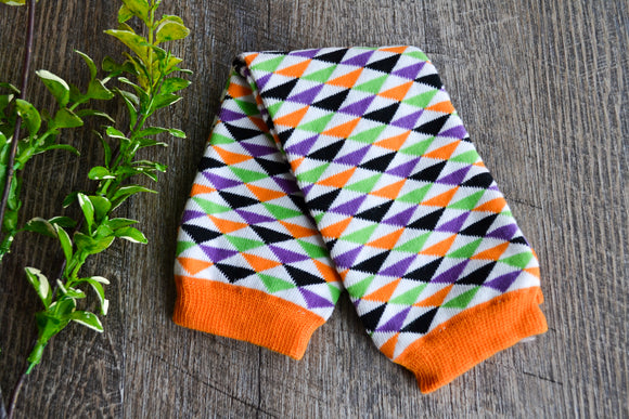 Orange Purple Black White Triangle Halloween Leg Warmers - Dream Lily Designs