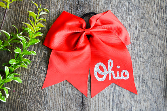 Red Cheer Bow with Logo - Ohio - Dream Lily Designs