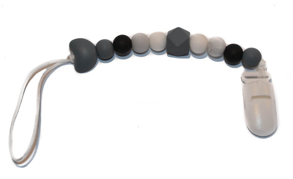 Teething Pacifier Clip - Grey Heart, White, Black