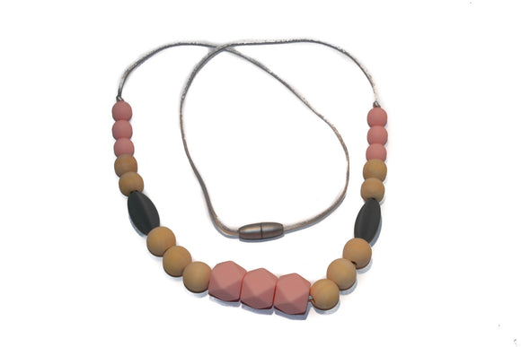 Teething Necklace - Pink Hexagon, Wood, Grey Long Bead