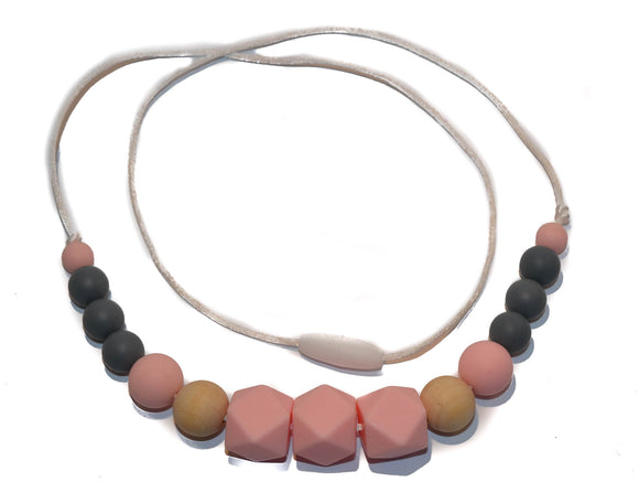 Teething Necklace - Light Pink Hexagon, Wood, Grey