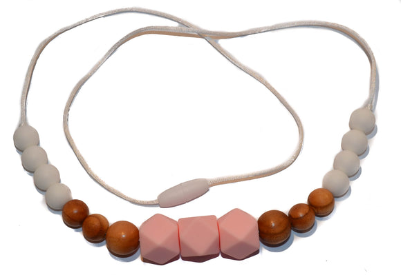 Teething Necklace - Light Pink Hexagon, Wood, White