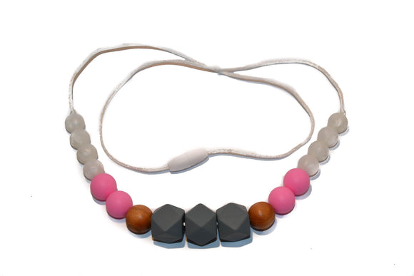 Teething Necklace - Grey Hexagon, Wood, Bright Pink, White