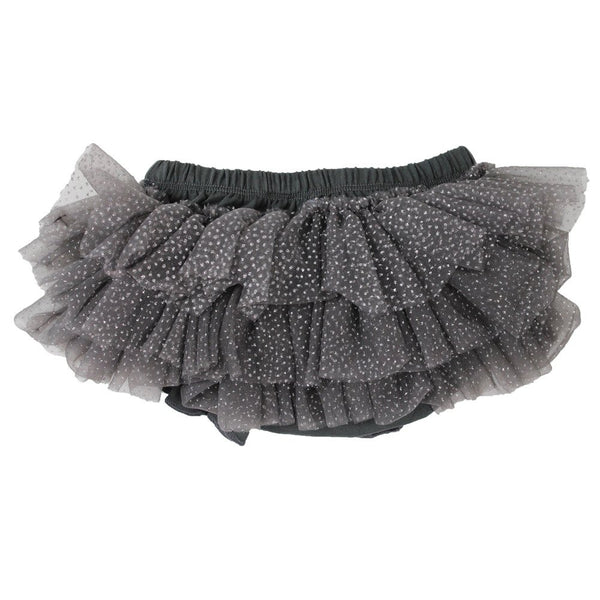 Dark Grey Chiffon Sparkle Tutu Ruffle Diaper Cover 1