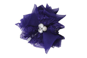 Dark Purple Lace Crystal Pearl Flower Hair Clip - Dream Lily Designs