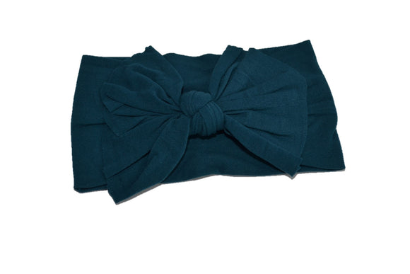 Dark Teal Nylon Ragged Knot Baby Wide Headband - Dream Lily Designs