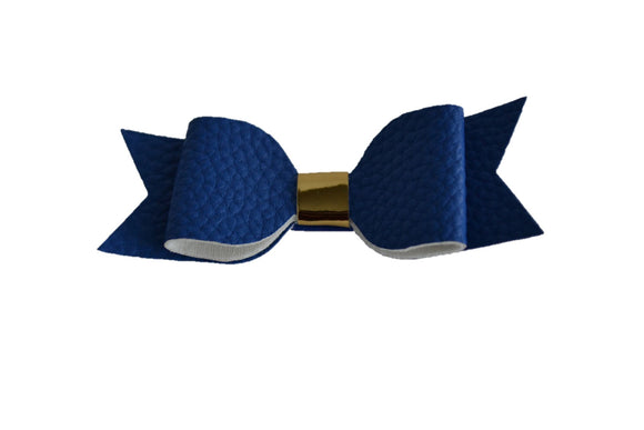 Royal Blue Leather Bow - Dream Lily Designs