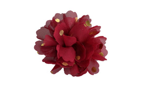 Gold Foil Polka Dot Chiffon Flower Hair Clip - Maroon - Dream Lily Designs