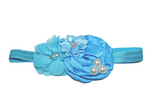 Blue Pearl Rosette Headband - Dream Lily Designs