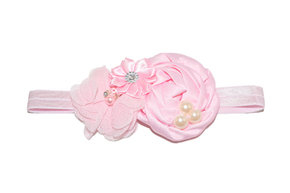 Light Pink Pearl Rosette Headband - Dream Lily Designs