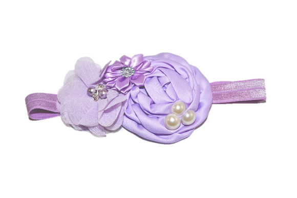 Light Purple Pearl Rosette Headband