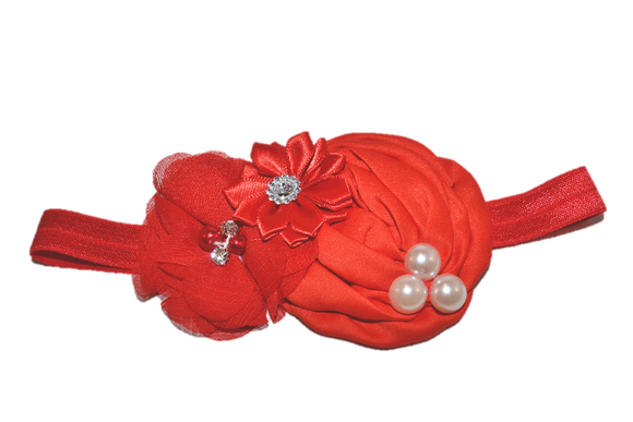 Red Pearl Rosette Headband - Dream Lily Designs
