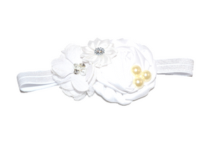 White Pearl Rosette Headband - Dream Lily Designs