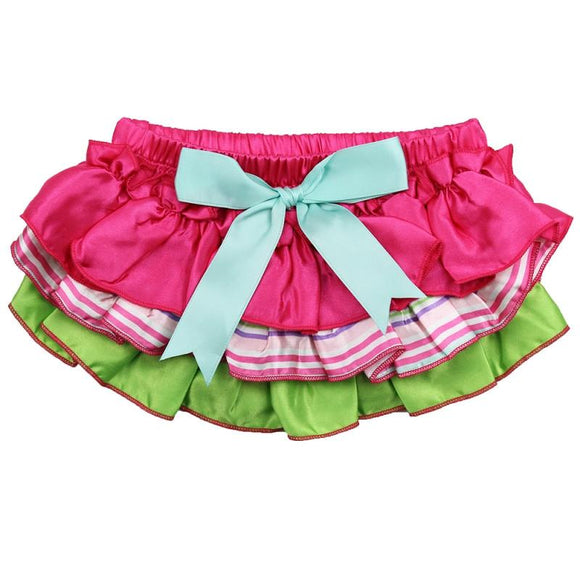 Green and Pink Ruffle Diaper Cover