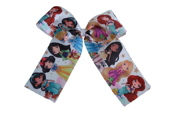 Disney Princesses with Pets Pattern Ribbon Cheer Bow with Clip - Dream Lily Designs
