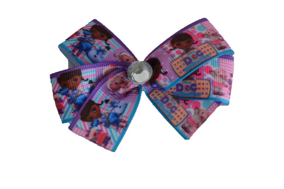 Doc McStuffins Blue Pink Purple Bow (Disney) - Dream Lily Designs