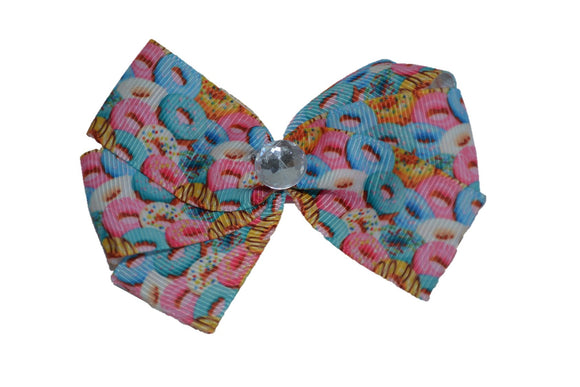 Donuts Blue Pink Hair Bow (Food) - Dream Lily Designs