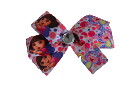 Dora Polka Dot White Bow (Misc Characters) - Dream Lily Designs