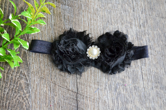 Double Shabby Pearl Flower Headband Black - Dream Lily Designs
