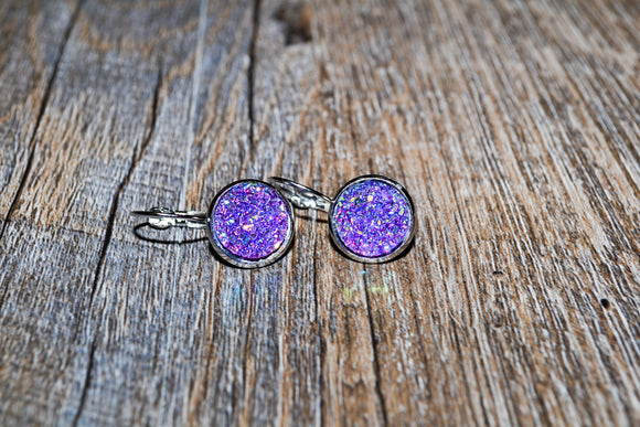 12mm Cabochon Rhinestone Earrings - Purple/Blue Leverback Style Pierced Earrings - Dream Lily Designs