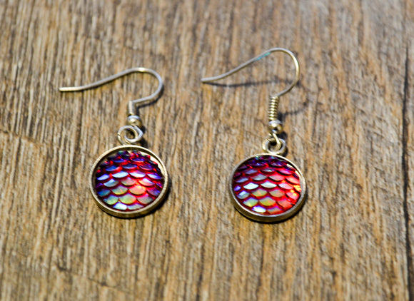 12mm Mermaid Scale Earrings - Iridescent Pink Fish hook Pierced Earrings - Dream Lily Designs