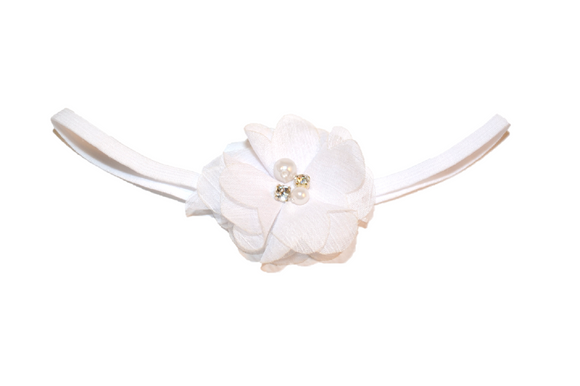 White Single Skinny Chiffon Headband