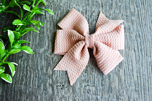 Nylon Fabric Double Pinwheel 3 Inch Baby Hair Bow - Peach - Dream Lily Designs