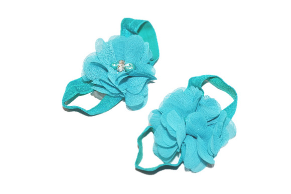 Teal Chiffon Crystal Baby Barefoot Sandals