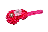 Hot Pink and Light Pink Fancy Crystal Flower Headband