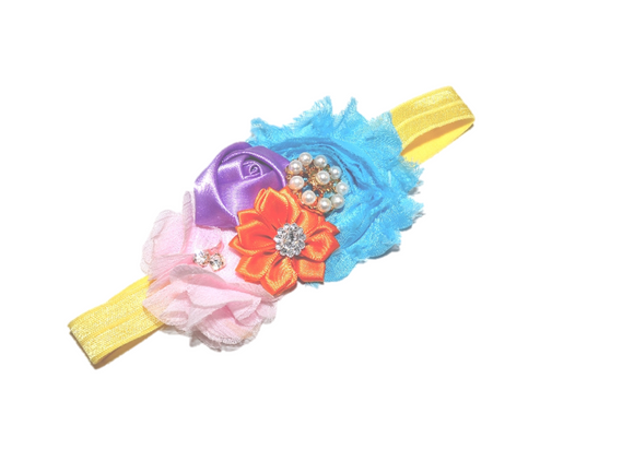 Purple Orange Pink and Blue Fancy Shabby Rose Headband - Dream Lily Designs