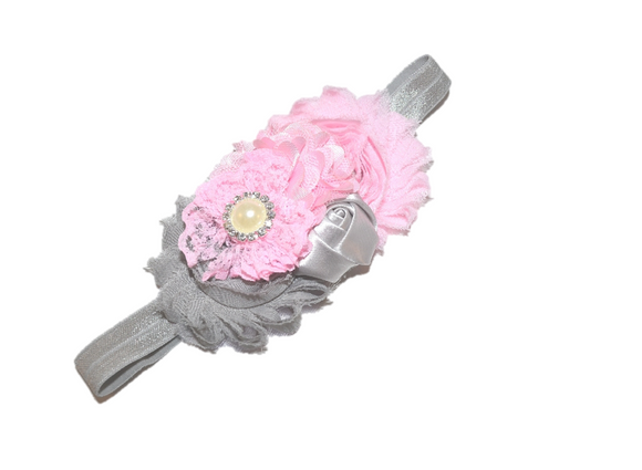 Grey and Pink Fancy Shabby Rose Headband with Pearl