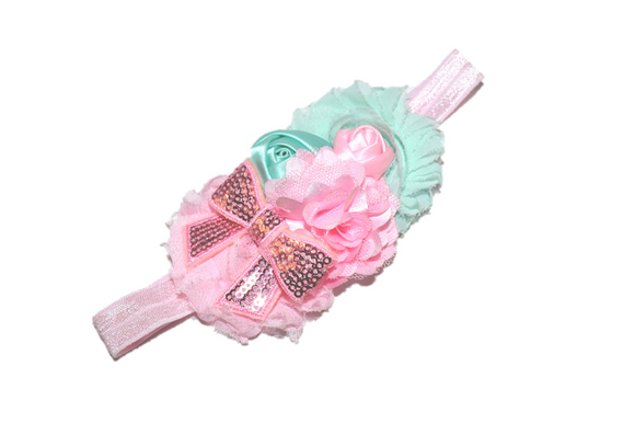Mint and Pink Fancy Shabby Rose Headband - Dream Lily Designs