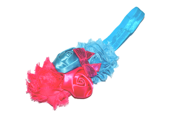 Hot Pink and Bright Blue Fancy Shabby Rose Headband - Dream Lily Designs