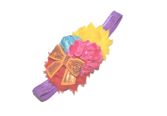 Pink, Blue, Yellow, and Red Fancy Shabby Rose Headband - Dream Lily Designs