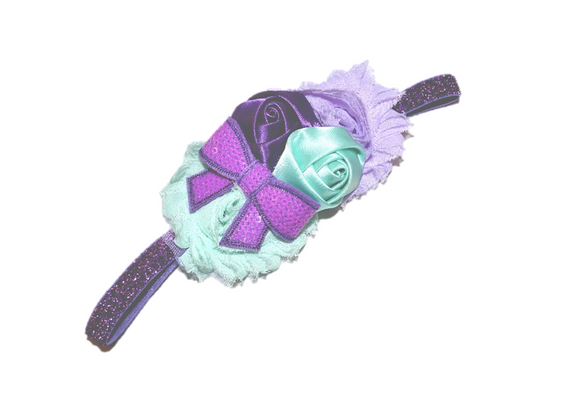 Mint and Purple Fancy Shabby Rose Headband - Dream Lily Designs